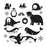 Ледовитый комплект силуэта животных Стоковые Фотографии RF