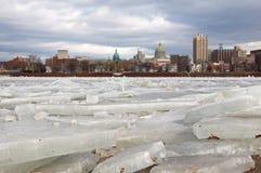 Лед ломая на Harrisburg Стоковая Фотография RF