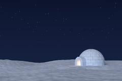 Ледохранилище иглу с теплым светом внутрь под небом с звездами иллюстрация штока