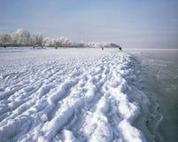 Лед покрыл пляж Стоковые Изображения