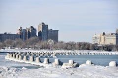 Лед покрыл штабелевки пляжа Стоковое Фото