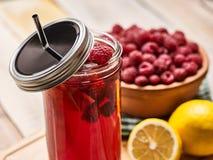Лед - стекло холодного напитка с коктеилем поленики и лимона Стоковое Изображение