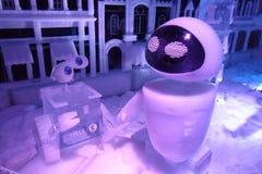Ледяная скульптура Disney& x27; s огораживает шарж e и пиратов Вест-Инди Стоковые Фото
