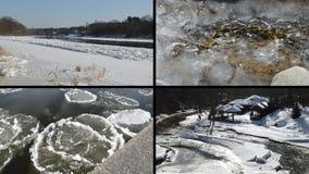 Ледяное поле плавая на речную воду в сказе сезона зимы красивом сток-видео
