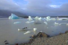 Ледяные поля на лагуне ледника Fjallsarlon озера Стоковые Изображения RF