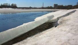 Ледяные поля на речном береге Стоковое Фото