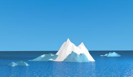 Лед mountian с голубым океаном Стоковые Изображения