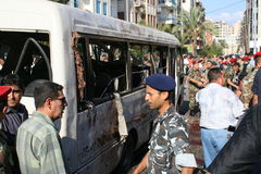 Ливанский взрыв бомб Стоковые Изображения