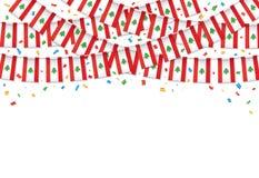 Ливан сигнализирует предпосылку гирлянды белую с confetti, овсянкой вида на ливанский День независимости бесплатная иллюстрация