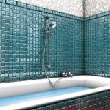 ливень зеленого цвета ванной комнаты Стоковое Изображение