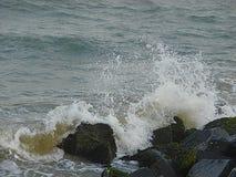 Ливень капелек воды должных к морю развевает разбивать на утесах Стоковые Фотографии RF