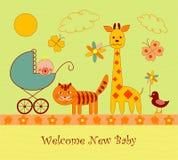 ливень карточки младенца прибытия Стоковое фото RF