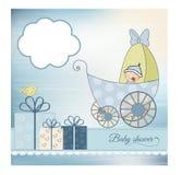 ливень pram карточки младенца объявления Стоковое фото RF