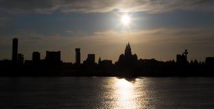 Ливерпуль silhouetted scape города Стоковая Фотография