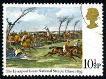 Ливерпуля большой национальный Steeple гоньбы Великобритании штемпель 1839 почтового сбора Стоковое Фото