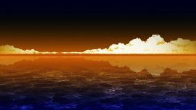 Ливневые облака на предпосылке голубого неба Грозовые облака над морем Анимация петли CG иллюстрация штока