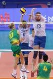 Лига Австралия наций волейбола FIVB против России Стоковые Фото