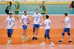 Лига Австралия наций волейбола FIVB против России Стоковая Фотография RF