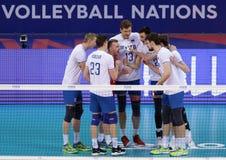 Лига Австралия наций волейбола FIVB против России Стоковые Изображения RF