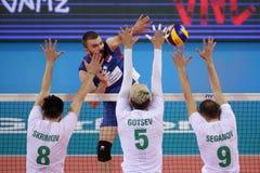 Лига Болгария наций волейбола FIVB против Сербии Стоковые Изображения