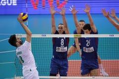 Лига Болгария наций волейбола FIVB против Сербии Стоковые Изображения RF
