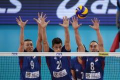 Лига Болгария наций волейбола FIVB против Сербии Стоковое Изображение RF