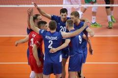 Лига Болгария наций волейбола FIVB против Сербии Стоковые Фотографии RF