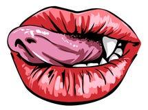 Лизать сексуальные красные губы Стоковое Изображение