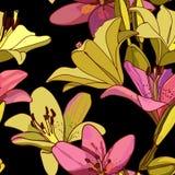 Лилии на винтажной безшовной картине стоковая фотография rf