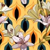 Лилии на винтажной безшовной картине стоковые фотографии rf