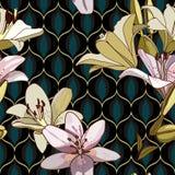 Лилии на винтажной безшовной картине стоковое фото