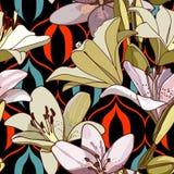 Лилии на винтажной безшовной картине стоковое фото rf