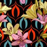 Лилии на винтажной безшовной картине стоковые изображения