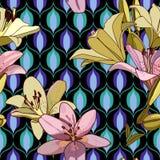 Лилии на винтажной безшовной картине стоковая фотография