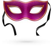 Лиловая маска масленицы вектора с тесемками Стоковая Фотография RF