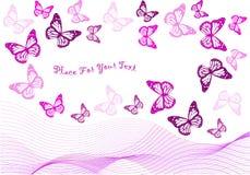 Лиловые бабочки и изолированные волны бленды Стоковое Изображение RF