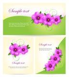 Лиловые карточки цветков. Предпосылка вектора. Стоковые Изображения