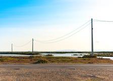 Лиман перепада Эбра и заболоченные места, Таррагона, Catalunya, Испания Скопируйте космос для текста Стоковое Изображение RF
