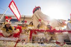 ЛИМАСОЛ, КИПР - 26-ОЕ ФЕВРАЛЯ: Масленица детей принимать парад масленицы детей, 26-ое февраля 2017 в Лимасоле Стоковая Фотография