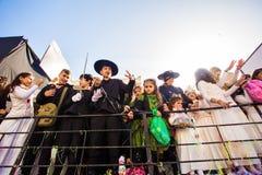 ЛИМАСОЛ, КИПР - 26-ОЕ ФЕВРАЛЯ: Масленица детей принимать парад масленицы детей, 26-ое февраля 2017 в Лимасоле Стоковое Изображение RF