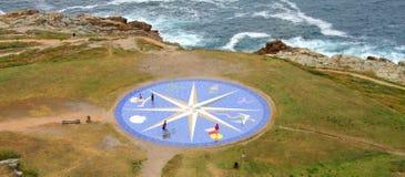Лимб картушки компаса в Coruna, Галиция, Испания Стоковая Фотография RF
