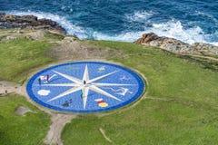Лимб картушки компаса в Coruna, Галиция, Испания. Стоковые Фотографии RF