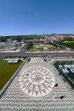 Лимб картушки компаса и Mappa Mundi, Belem, Лиссабон, Португалия Стоковое Изображение