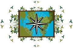 Лимб картушки компаса на карте с украшением Стоковое фото RF