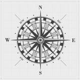 Лимб картушки компаса над решеткой Стоковое Изображение RF