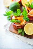 Лимонад лета цитрусовых фруктов свежий, настоянный коктеиль питья вытрезвителя воды стоковое изображение rf