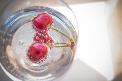 Лимонад, пить лета Стекла освежающего напитка приправленные с свежими фруктами Вишня лета с освежающим напитком внутри Стоковое Изображение RF