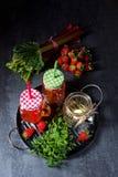 лимонад плодоовощ с клубниками ревенем и мятой стоковые фотографии rf