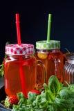 лимонад плодоовощ с клубниками ревенем и мятой стоковое фото