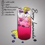 Лимонад голубики с пить выплеска и ягоды цвета Иллюстрация вектора
